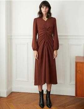 Rust Brown Shirred Dress by Pixie Market
