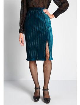 Let's Pleat Up Velvet Midi Skirt by Modcloth