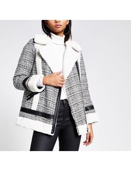 Cream Boucle Faux Fur Aviator Jacket by River Island
