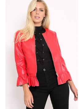 Red Faux Leather Frill Hem Jacket   Cherrie by Rebellious Fashion