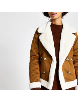 Brown Faux Suede Shearling Fallaway Jacket by River Island