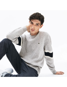Men's Crewneck Striped Sleeve Heathered Jacquard Sweater by Lacoste