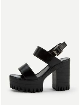Chaussures à Talons épais Glissantes Unicolores by Sheinside