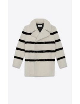 Striped Shearling Pea Coat by Saint Laurent