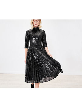 Sequin Pleated Midi Dress by Oasis