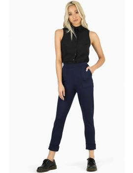 Navy Cuffed Pants Bm Fit   Limited by Black Milk