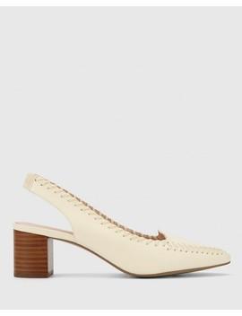 Levana Buttercream Leather Slingback Block Heel by Wittner