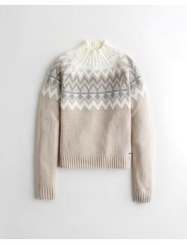 Patterned Mockneck Sweater by Hollister