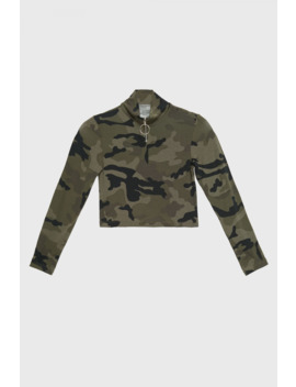 Khaki Girls Zip Front Long Sleeve Camo Top by Select