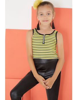 Yellow White Girls Stripe Zip Front Vest Top by Select