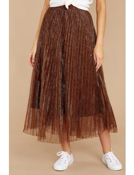 And I Sway Copper Brown Midi Skirt by On Twelfth