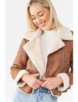 Faux Nubuck Moto Jacket by Forever 21