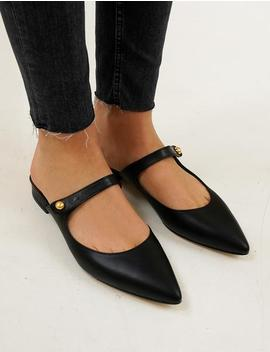 Mary Jane Strap Pointy Flat Shoes by Pixie Market