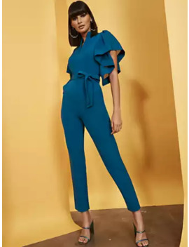 Madie Sheer Ruffle Sleeve Jumpsuit – 7th Avenue by New York & Company