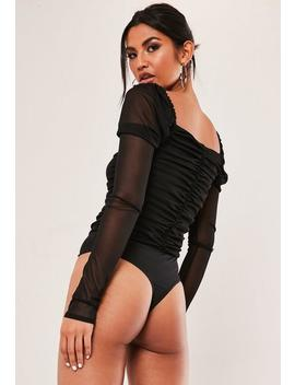 Tall Black Ruched Mesh Bodysuit by Missguided