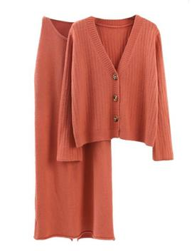 'makana' Ribbed Knit Cardigan Sleeveless Dress Set (3 Colors) by Goodnight Macaroon