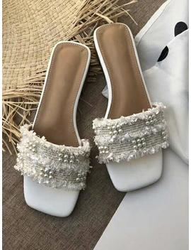 'pearly' Tweed Pearl Sandals (3 Color) by Goodnight Macaroon