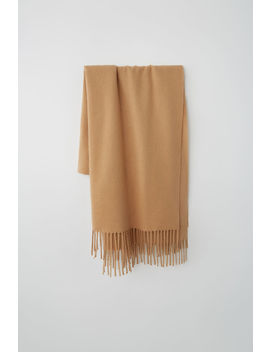 Cashmere Fringed Scarf Camel Brown by Acne Studios