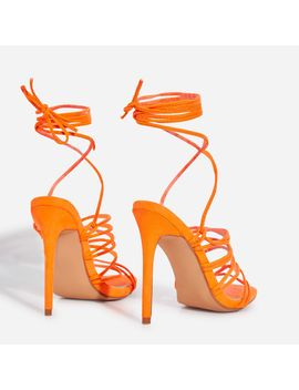 Revel Lace Up Square Toe Heel In Neon Orange Faux Suede by Ego