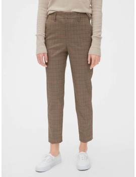 High Rise Plaid Slim Taper Pants by Gap