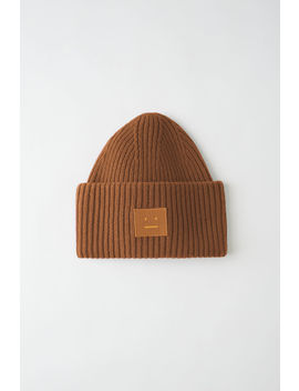 Face Patch Beanie Caramel Brown by Acne Studios