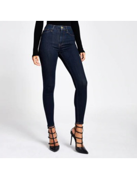 Hailey   Donkerblauwe Jeans Met Hoge Taille by River Island