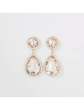 Rose Gold Colour Diamante Jewel Drop Earrings by River Island
