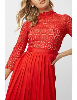Little Mistress Alice Red 3/4 Sleeve Crochet Top Midi Dress With Pleated Skirt by Little Mistress