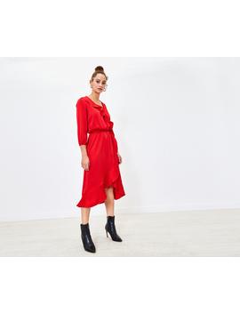 Frill Wrap Midi Dress by Oasis
