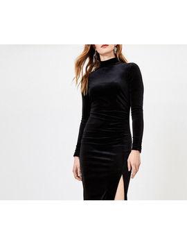 Velvet Slit Midi Dress by Oasis