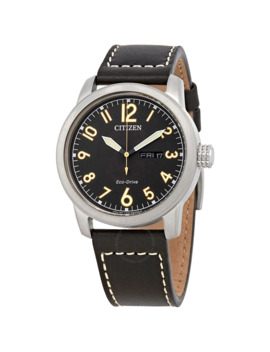 Eco Drive Chandler Black Dial Men's Leather Watch by Citizen