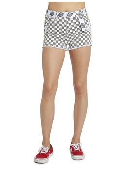 Dickies Girl Juniors' Checkered Fray Hem Shorts With Belt by Dickies