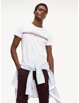 Stripe Logo Organic Cotton T Shirt by Tommy Hilfiger