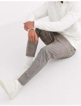 jack-&-jones-intelligence-drawstring-waist-check-trousers-in-brown by jack-&-jones