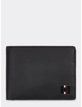 Metal Logo Leather Wallet by Tommy Hilfiger