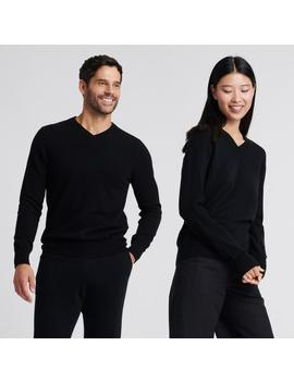 The Essential $75 Cashmere V Neck Sweater Black by Naadam