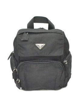 Authentic Prada Nylon Flap Backpack Rucksack Day Pack Black Silver Italy by Prada