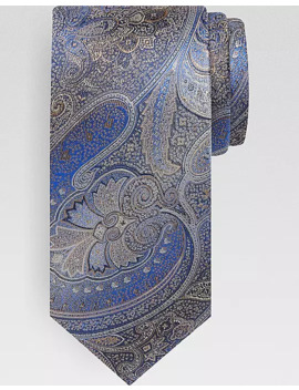 Pronto Uomo Taupe & Blue Paisley Narrow Tie by Pronto Uomo