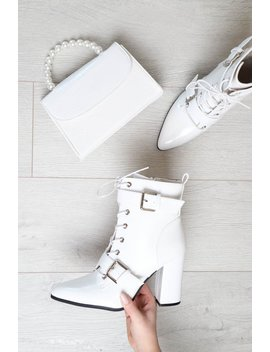 White Patent Buckle Pointed Boots   Canyon by Rebellious Fashion