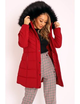 Wine Adjustable Back Long Puffer Coat   Maezie by Rebellious Fashion