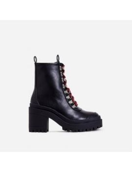 Maura Chunky Sole Lace Up Ankle Biker Boot In Black Faux Leather by Ego