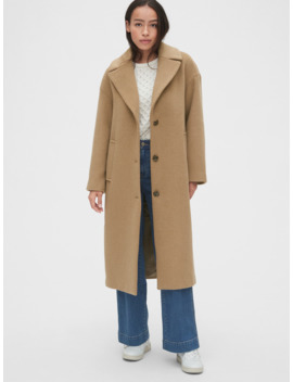 Oversized Longline Wool Blend Coat by Gap