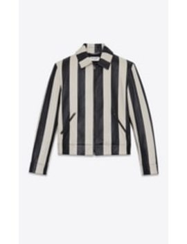 Striped Jacket In Satinated Lambskin by Saint Laurent