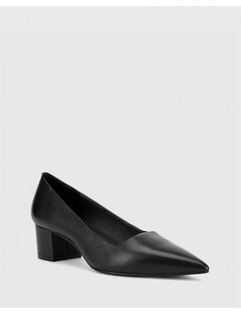 Gardenia Black Leather Block Heel Pointed Toe Pump by Wittner