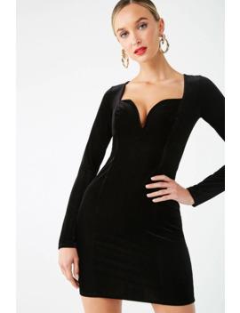 Ribbed Velvet V Wire Bodycon Dress by Forever 21