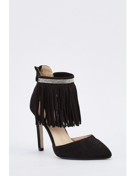 Encrusted Fringed Court Heels by Everything5 Pounds