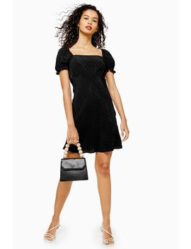 Tall Black Jacquard Mini Square Neck Tea Dress by Topshop