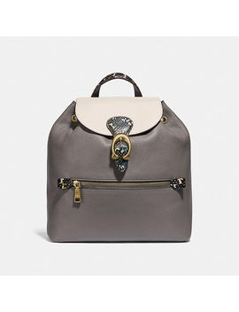 Evie Backpack In Colorblock With Snakeskin Detail by Coach