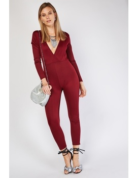 Long Sleeve Wine Jumpsuit by Everything5 Pounds