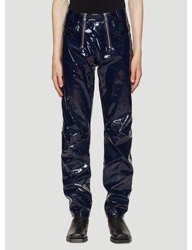 Exposed Zip Vinyl Pants In Navy by Gmb H